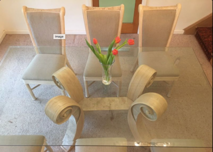 6 Seats Glass Dining Table And Chair Set
