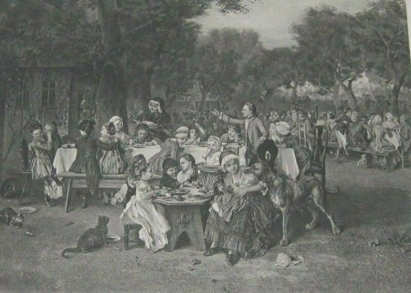 """1887 Steel Etching Art Print """"The Childrens Festival"""" By  Ludwig Knaus Free Ship"""