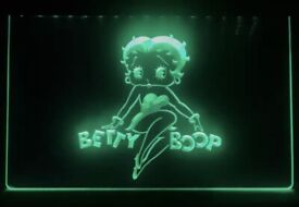 Betty Boop Neon Light Sign home ( 40 X30 cm )color green.