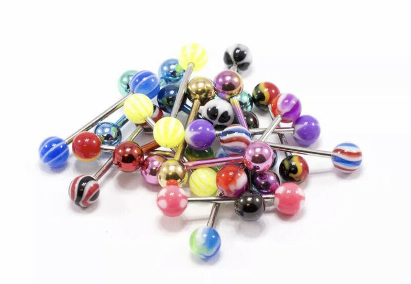 Tongue Rings 14g (10 Pieces, No Duplicates)