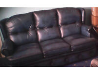 Blue Leather 3-Piece Suite with Reclining Chair