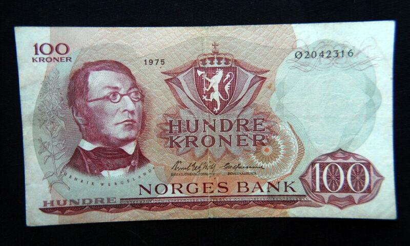 1975 NORWAY banknote 100 kroner VF