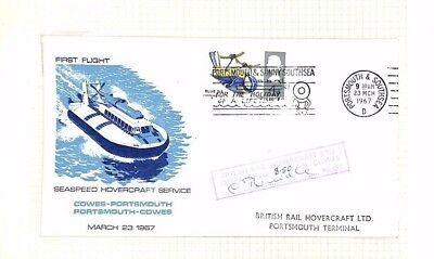 AQ496 1967 GB Cowes Portsmouth HOVERCRAFT First Flight Cover Seaspeed