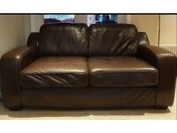 DELIVERY INCLUDED vgc genuine dark brown leather 2 seater sofa