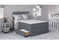 double king size divan base with mattress and headboard option