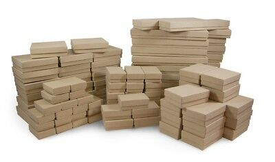 Kraft Cotton Filled Gift Boxes Jewelry Cardboard Box Lots of 12~25~50~100 100 Kraft Cotton Filled Jewelry