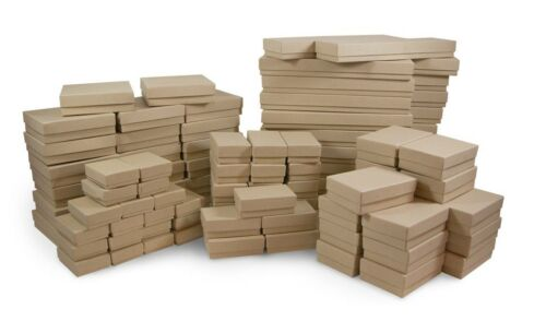 Kraft Cotton Filled Gift Boxes Jewelry Cardboard Box Lots of 12~25~50~100