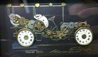 Interesting Vintage Assemblage Picture - Automobile Made From Clock Parts Signed