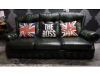 Beautiful Chesterfield High Back Green Leather 3 Seater Sofa Couch - Uk Delivery