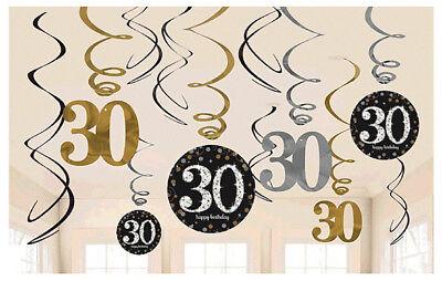 30th Birthday Decor (Sparkling Celebration 30th Birthday Swirl Decorations Party Supplies ~)