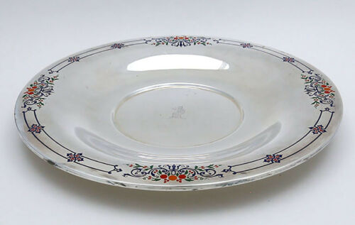 INTERNATIONAL Art Deco Sterling and ENAMEL Cake Plate TRAY with CREST