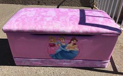 Deluxe Toy Box Disney Princess Girl Kids Durable Wood Hearts Crowns Rare Cushion Kids Princess Toy Box