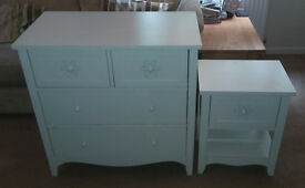 Girl's Matching White Wardrobe, Chest of Drawers, Bedside Unit and Book Shelves