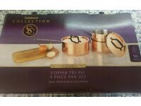 Brand new sainsburys copper tri-ply 3 piece pan set.