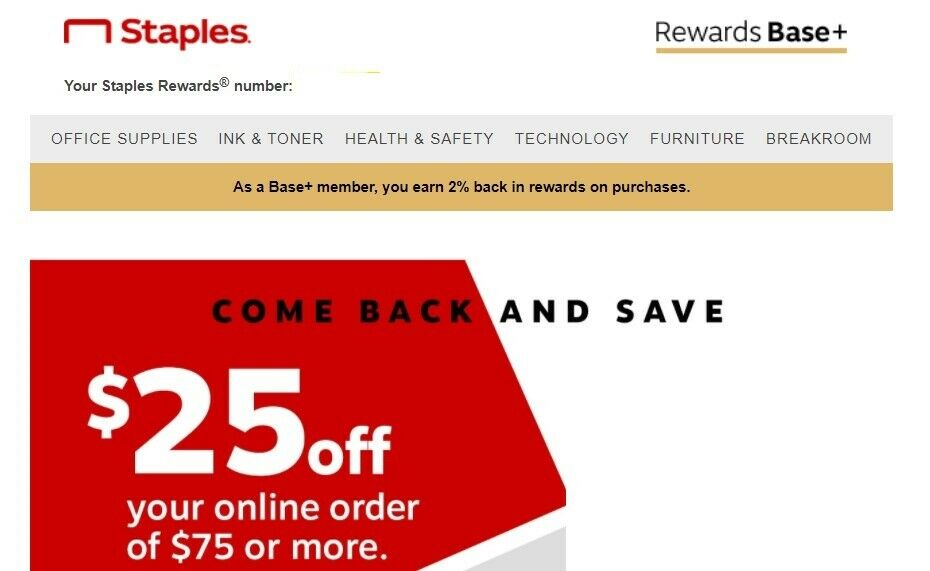 Staples 25 Off 75 Coupon - Expires 5/8/2021 - $6.25