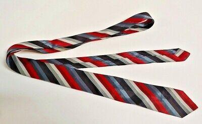 1940s Mens Ties | Wide Ties & Painted Ties Men's Vintage Tie Necktie 1940's 50's SKINNY Red Blue Grey Stripe Rare Old $9.99 AT vintagedancer.com