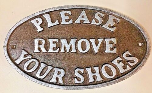 """""""Please Remove Your Shoes"""" Sign Oval Plaque cast iron metal Brown Silver Letters"""