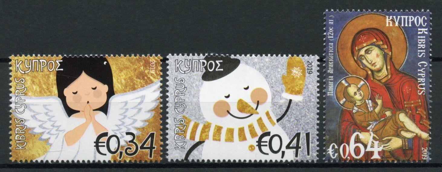 Cyprus Christmas Stamps 2019 MNH Angels Madonna & Child Snowman 3v Set