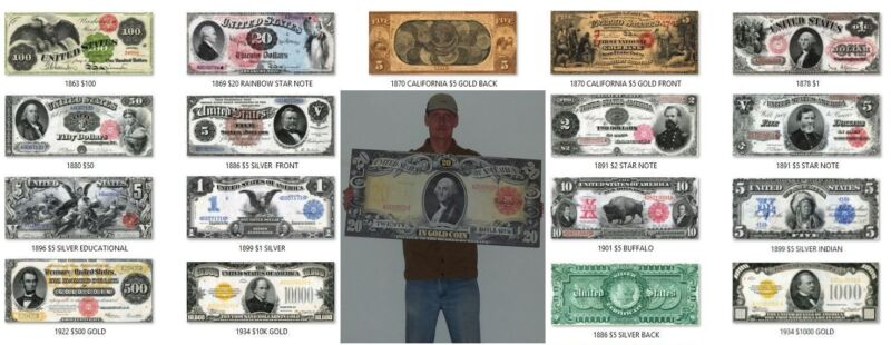 $1 $2 $5 $10 $20 United States Gold /& Silver Certificate Notes on HUGE CANVAS
