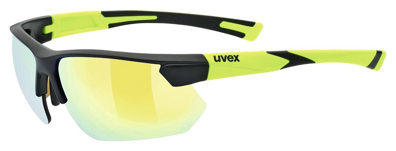 Uvex Sportstyle 221 Sportbrille Sonnenbrille Laufen Jogging - black mat yellow