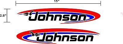 Outboard Motor Decals (Johnson Outboard motor decals stickers graphics. 2 piece)