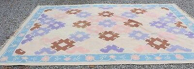ABC CARPET & HOME LARGE AREA RUG FRINGED 100% WOOL PILE PINK BLUE TAN 14 X 10, used for sale  Brooksville
