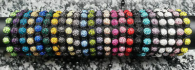SHAMBALLA Armbänder / Armband mit 9 Glitzer-Kugeln in 24 vers. Farben + Hämatit!