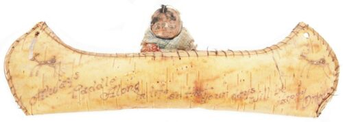Antique Native American Birch Bark Canoe Travel Souvenir Yosemite Indian Miwok