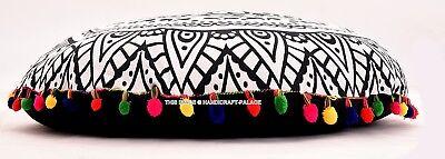 B&W Large Indian Round Floor Pillows Mandala Decor Meditatio