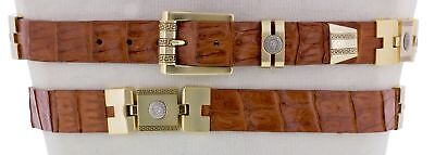 Mens Genuine Crocodile Skin Belt Cognac Exotic Leather Western Cowboy Gold Links