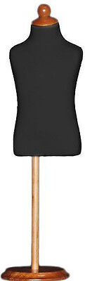 Mn-195 Black Toddler Child Dress Form Mannequin Adjustable Wood Stand Size 4c