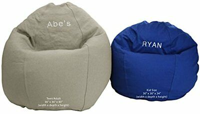 Embroidered Kid Chair (Bean Bag Chair Classic Kid Size BeanBag PERSONALIZED EMBROIDERED, Made in)