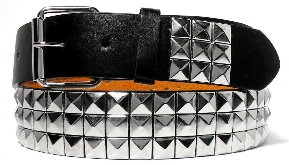 SILVER METAL STUDS BLACK LEATHER BELT WITH REMOVABLE BUCKLE – S M L XL Belts