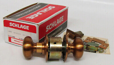 Vtg Schlage A40s Plymouth 612 Satin Bronze Door Knob Privacy Lock Set Nosnew