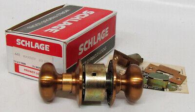 Vtg Schlage A40s Plymouth 612 Satin Bronze Door Knob Privacy Lock Set Nosnew