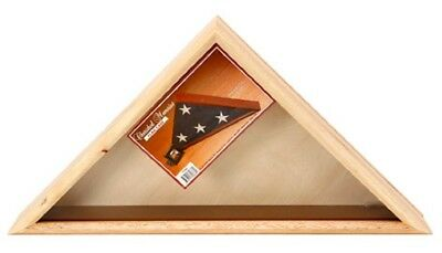 Oak Wood Triangle Flag Case Box for Veteran Memorial Funeral Burial 27x13x3 New