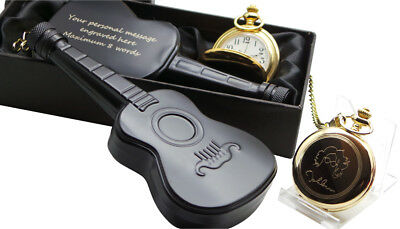 JOHN LENNON Signed 24K GOLD Clad Pocket Watch and Personalised Guitar Hip Flask