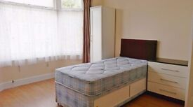 Large double room, single bed in family house. £105 per week (all inclusive).