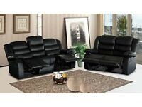 NEW 3+2 BONDED LEATHER RECLINER SUITES/BLACK SOFA SETTEE CUP HOLDER