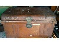 Old vintage metal trunk / chest