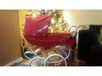 red silver cross dolls pram , vgc hardly used with bag n pram set