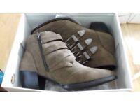 Ladies Khaki Suedette Boots Size 6