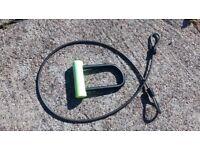 BIKE LOCK - B'TWIN 900 MINI CABLE D-LOCK SET - high security level