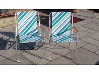 Folding metal beach chairs