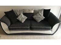SOFA, TWISTER CUDDLE CHAIR AND FOOTSTOOL, 18 months old, Black/Grey & White