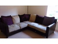 Large Corner Sofa, fabric & faux leather - QUICK SALE, PRICE REDUCED