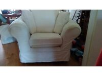 Large fabric Armchair/tube with cushions and covers