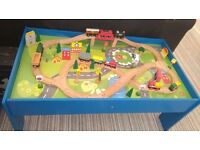 Chad valley wooden train set & table