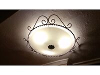 2 x Beautiful retro glass and iron large ceiling light fittings.