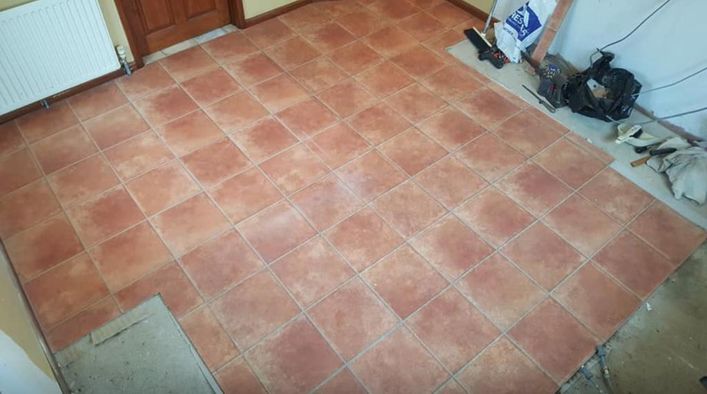 Terracotta Tile Effect Laminate Flooring Used 8m2